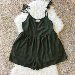 Urban Outfitters Green Tie-strap Frock Romper